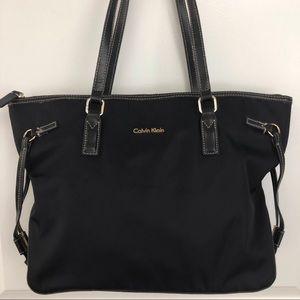 Calvin Klein   Black Nylon & Leather Tote Bag F02